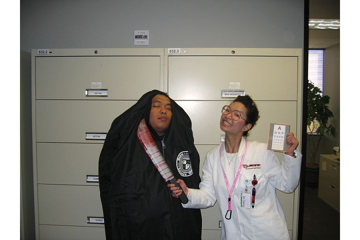 This was halloween 2005? I think. It was the best year in the office because I played an optometrist!!