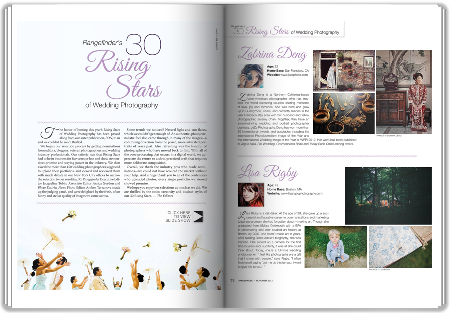 Rangefinder Magazine 30 rising star of Wedding photography