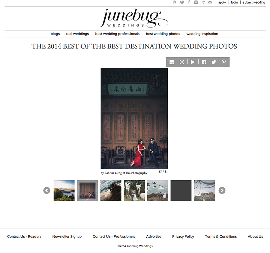 Jeza become Junebug2014 top 50 destination wedding photographers